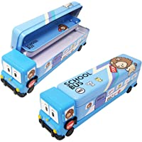 SillyMe School Bus Shaped Pencil Box for Kids with Wheels and Sharpener (Metal) - Blue)