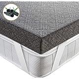 BedStory Topper Viscoelastico 135x190x7.5cm Topper Colchón con Gel de Carbón de Bambú Antiácaros y Transpirable Sobrecolchón