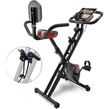 Bicicleta estática plegable Sportstech F-Bike X100-B con sistema de resistencia inteligente, respaldo de inercia de 4kg, soporte para tableta, 8 niveles de resistencia magnetica, pulsometro integrado (con respaldo)