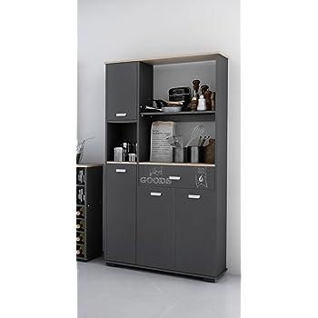 Buffet haut et de cuisine 4 portes 1 tiroir grafito. gris 180 cm