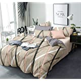 MIL Furnishings Premium Cotton King Size Elastic Fitted Bedsheets with 2 Pillow Covers(Brown Check)