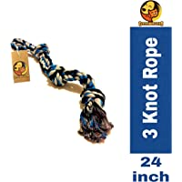 Foodie Puppies Thick Chew Knots Extra Durable Washable Rope Toy for Aggressive Chewers for Large Dogs (Color May Vary)