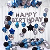 Party Propz Happy Birthday Decoration Kit 44Pcs Set for Husband Boys Kids Decorations Items Combo with Helium Letters Foil Ba
