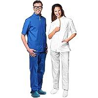 Casacca X Divisa Medica Dentista Camice Uomo Donna Cotone Manica Lunga Bianco Xs
