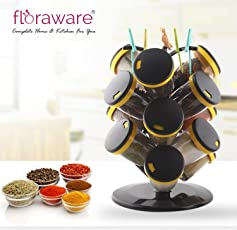 Floraware Plastic Revolving Spice Rack Set, 15-Pieces, Yellow