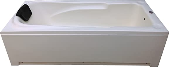 MADONNA Voyage 5.5 ft Portable Acrylic Bath Tub with Front Panel and Head Rest - Ivory