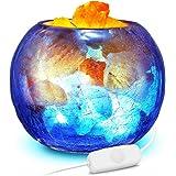 ACCEWIT Lampe en Cristal de Sel de l'Himalaya avec bouton de réglage d'intensité, 100% naturelle avec gradateur et bouteille en verre bleu pour la purification de l'air, éclairage et décoration