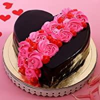 Ferns 'N' Petals Roses On Heart Designer Cake Half Kg Eggless| Birthday Cake| Anniversary Cake|Next Day Delivery