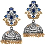 Peora Indian Traditional Jaipur Collection Antique Oxidised Silver Plated Jhumka Jhumki Earrings for Women Girls