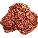 Cappello da sole pieghevole da donna, con tesa larga, in paglia estivo, da spiaggia, con bel fiocco per viaggio