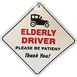 Elderly Driver Please Be Patient Window Sucker Sign, Blue, one Size, AMZ-SNL_UK_28839