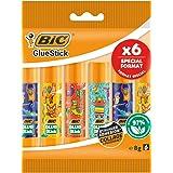BIC ECOlutions Bâtons de Colle Blanche 8g - Décors Assortis, Pochette Format Spécial de 6