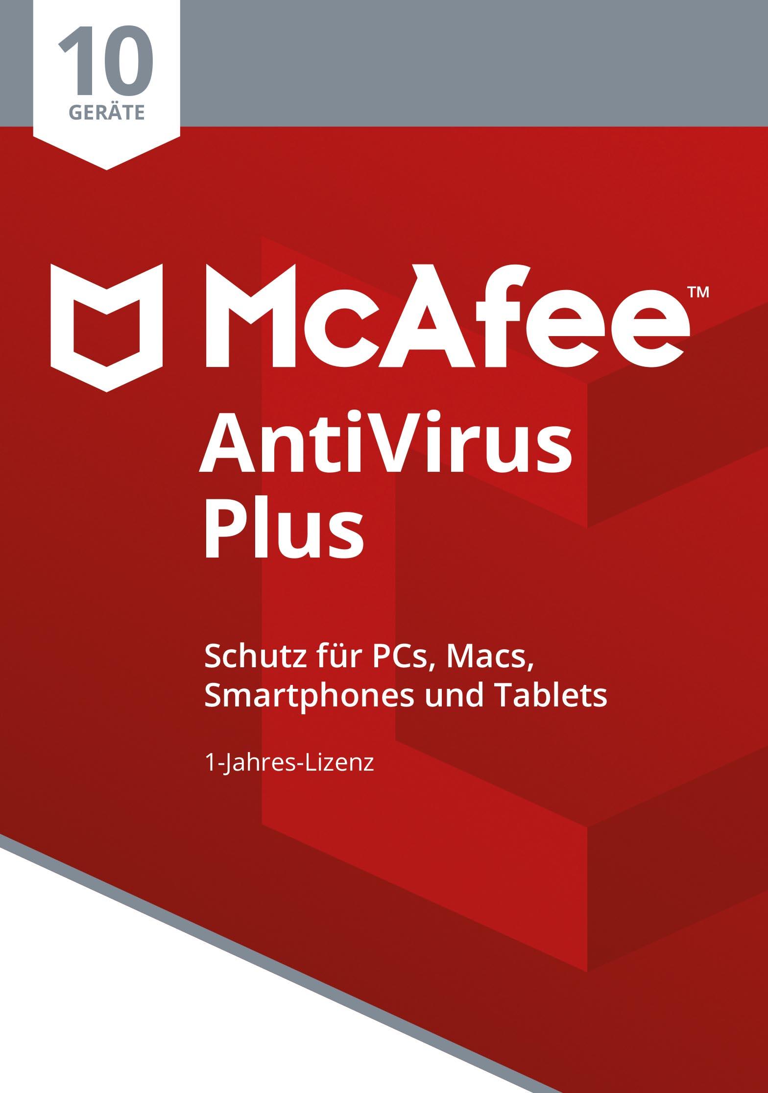 McAfee AntiVirus Plus 2018 | 10 Geräte | 1 Jahr | PC/Mac/Smartphone/Tablet | Online Code