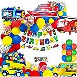 Globos Cumpleaños Decoracione de Niños, Feliz Cumpleaños Decoración Fiesta Cumpleaños Globo de Transporte, Avión Tren Autobú