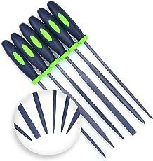 DIY Crafts Needle File Set (Highest Quality 6 Piece Set) Hardened Alloy Strength Steel - Mini Needle File Set Includes Flat, Flat Warding, Square, Triangular, Round, and Half-Round File.