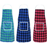 GLUN Waterproof Unisex Kitchen Apron Checkered Design with Roomy Centre Pocket With Extra Long Waist Strap Pack Of 3 Differen