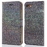 iPhone 6 / 6S Plus Hülle (5,5 Zoll), LCHULLE Pearl Spots Bling Glitter Slim PU Leder Flip Case Silikon Rückseitige Abdec