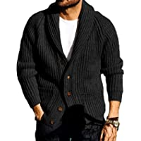FUERI Mens Cardigan Knitted Jacket Shawl Collar Loose Chunky Cable Knit V Neck Knitwear Outerwear