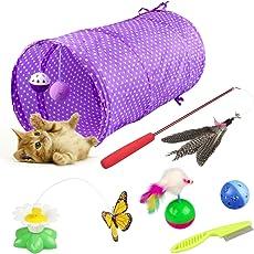 Yokunat Kitten Toys Variety Pack - Katzenspielzeug Set einschließlich Cat Tunnel, Funny Cat Stick, elektrische Schmetterling & Lot mehr, Cute Kitty Spielzeug für Katzen 6 Stück