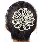 Lurrose - Red elástica de Snood para el pelo de perlas con pedrería (blanco)