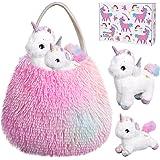Tacobear Einhorn Kuscheltier Einhorn Spielzeug Plüsch Handtasche Weiches mit Einhorn Plüschtier Baby und Mama Rollenspiel Ein