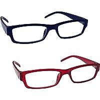 The Reading Glasses Company Blu Scuro Rosso Leggero Lettori Valore 2 Pacco Uomo Donna Rr32-3Z +2,00 - 58 Gr