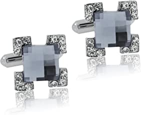 The Jewel Box Square Faceted Blue Stone American Diamond Cz Rhodium Plated Brass Cufflink Pair for Men Gift Box Corporate Diwali