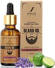 Spruce Shave Club Beard Growth Oil For Men - 100% Natural - Pure Essential Oils - 30ml (Bergamot & Lavender)