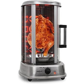oneConcept Kebap Master Pro • Grill Doner • rôtissoire poulet • Grill Gyros • Broche verticale • Grill rotatif avec rôtissoire • Grill électrique / de table pour la maison • Puissance: 1500 w • Argent