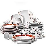 MALACASA, Série Felisa, 60pcs Services de Table Complets Porcelaine, 12 Tasses, 12 sous-Tasses, 12 Assiettes à Dessert,12 Ass