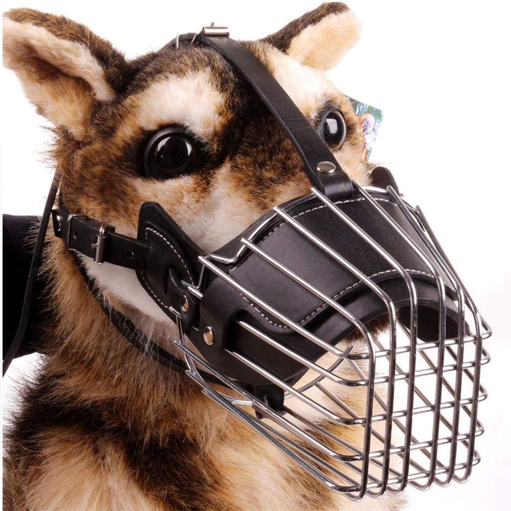 DOG MOUTH COVER Hocico del Perro Metal Máscara Cesta Alambre Ajustables Correas PU Transpirable Basket Bozales Pequeño,Medio,Anti-Morder,Barking Perro Mastica Boca Cubierta/Hocico Perro,L