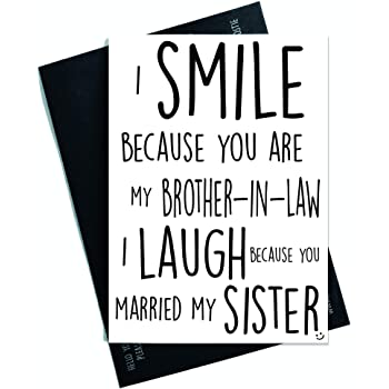 Funny Birthday Cards Wedding Card For Brother In Law Smile Laugh Married My