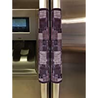 Heart Home 3D Checkered Design PVC 2 Pieces Fridge/Refrigerator Handle Cover (Brown) - CTHH6546