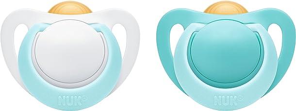 NUK Genius Latex-Schnuller, kiefergerechte, Form, BPA frei, 2 Stück