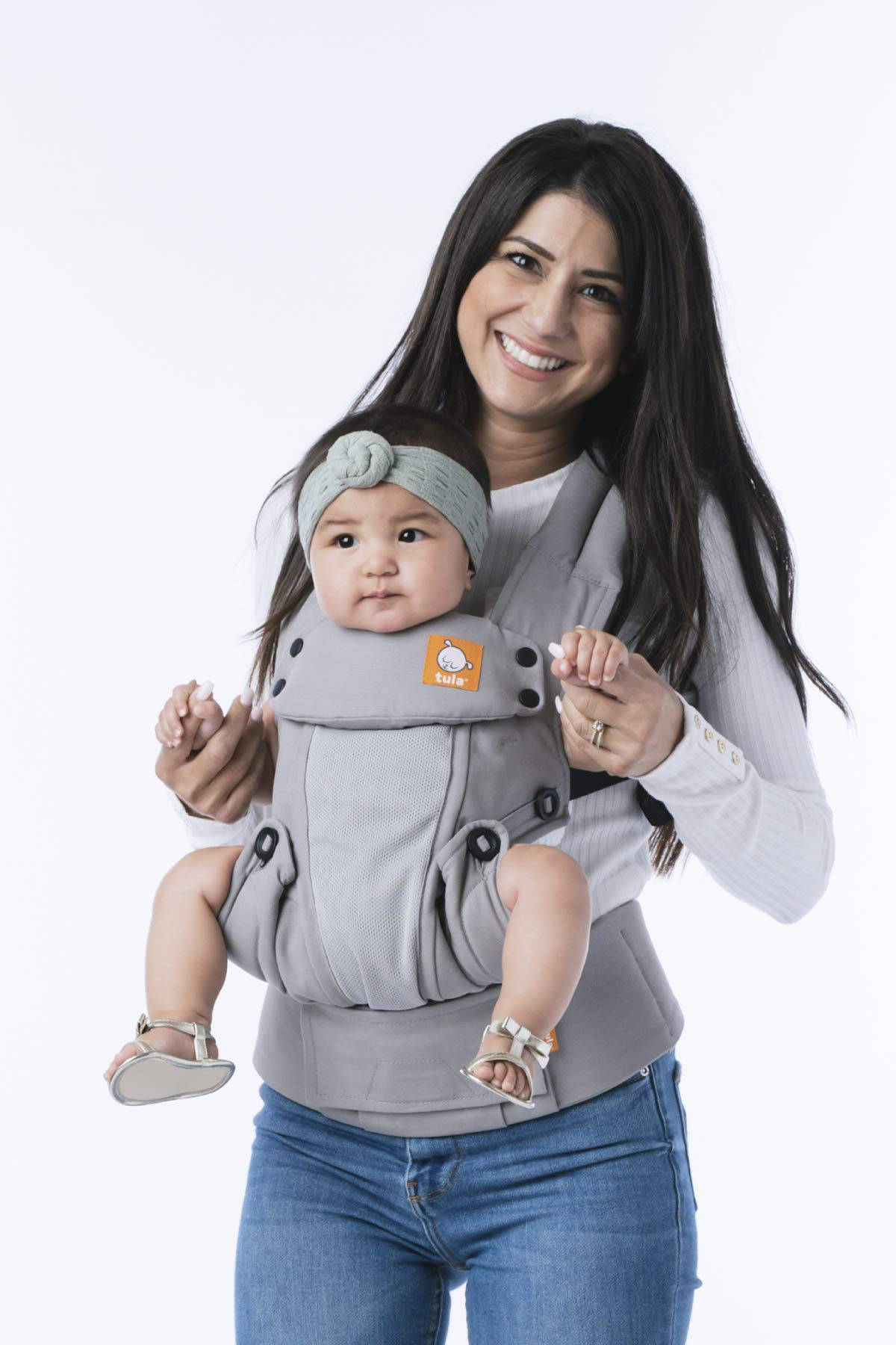 Baby Tula Coast Explore Mesh Baby Carrier 7 - 45 lb, Adjustable Newborn to Toddler Carrier, Multiple Ergonomic Positions Front and Back, Breathable - Coast Overcast, Light Gray with Light Gray Mesh Tula STAY COOL MESH CARRIER PANEL: Large mesh panel provides extra ventilation for optimal breathability to keep wearer and baby cool. BREATHABLE & LIGHTWEIGHT MATERIAL: Soft and lightweight 100% cotton with a large breathable mesh panel and hood that's easy to clean and machine washable. EVERY CARRY POSITION YOUR BABY WILL NEED, INCLUDING FACING OUT: Multiple positions to carry baby including front facing out*, facing in, and back carry. Each position provides a natural, ergonomic position best for comfortable carrying that promotes healthy hip and spine development for baby. 3