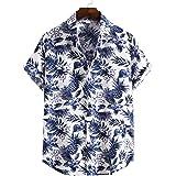 ZEZKT 2021 Chemise Homme Hawaii Imprimer Chemise À Rayures À Manches Courtes,Chemise Hawaïenne pour Hommes À Manches Courte,I