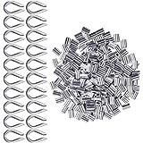 Aluminium hulzen clips 200 stuks voor draadkabel 2 mm diameter kabelkous Rigging aluminium dubbele hulzen kabelklemmen 20 stu