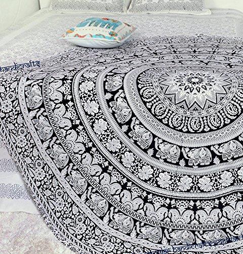 Toalla de playa redondo Mandala de plumas de manta Hippie tapiz algodón mantel Meditación Yoga Mat Alfombra por hippistry Hub, 100% algodón, Walking Elephant Blk Wht, 75 cms round