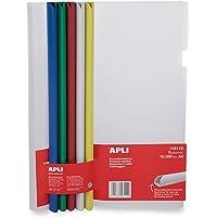 APLI-AGIPA 48809 Kit Reliure Polypropylène 30 feuilles Bord Incurvé 10 x 297 mm 5 Baguettes Couleur 5 Couverture…