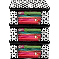 Kuber Industries Polka Dots Design 3 Piece Non Woven Fabric Saree Cover/ Clothes Organiser For Wardrobe Set with…
