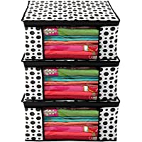 Kuber Industries Polka Dots Design 3 Piece Non Woven Fabric Saree Cover/Clothes Organiser for Wardrobe Set with…