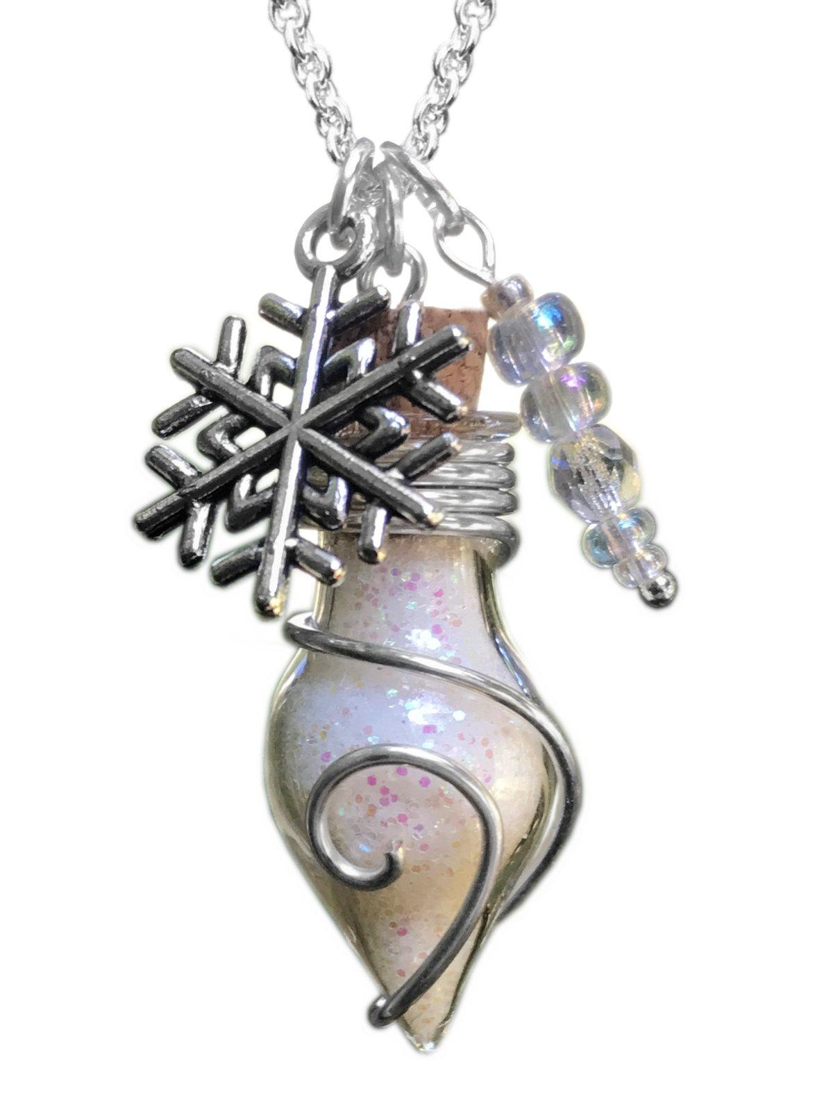 Damen Kette Phiole der Eisfee Winter Schneeflocke Anhänger Amulett Talisman Feenstaub weiß 2