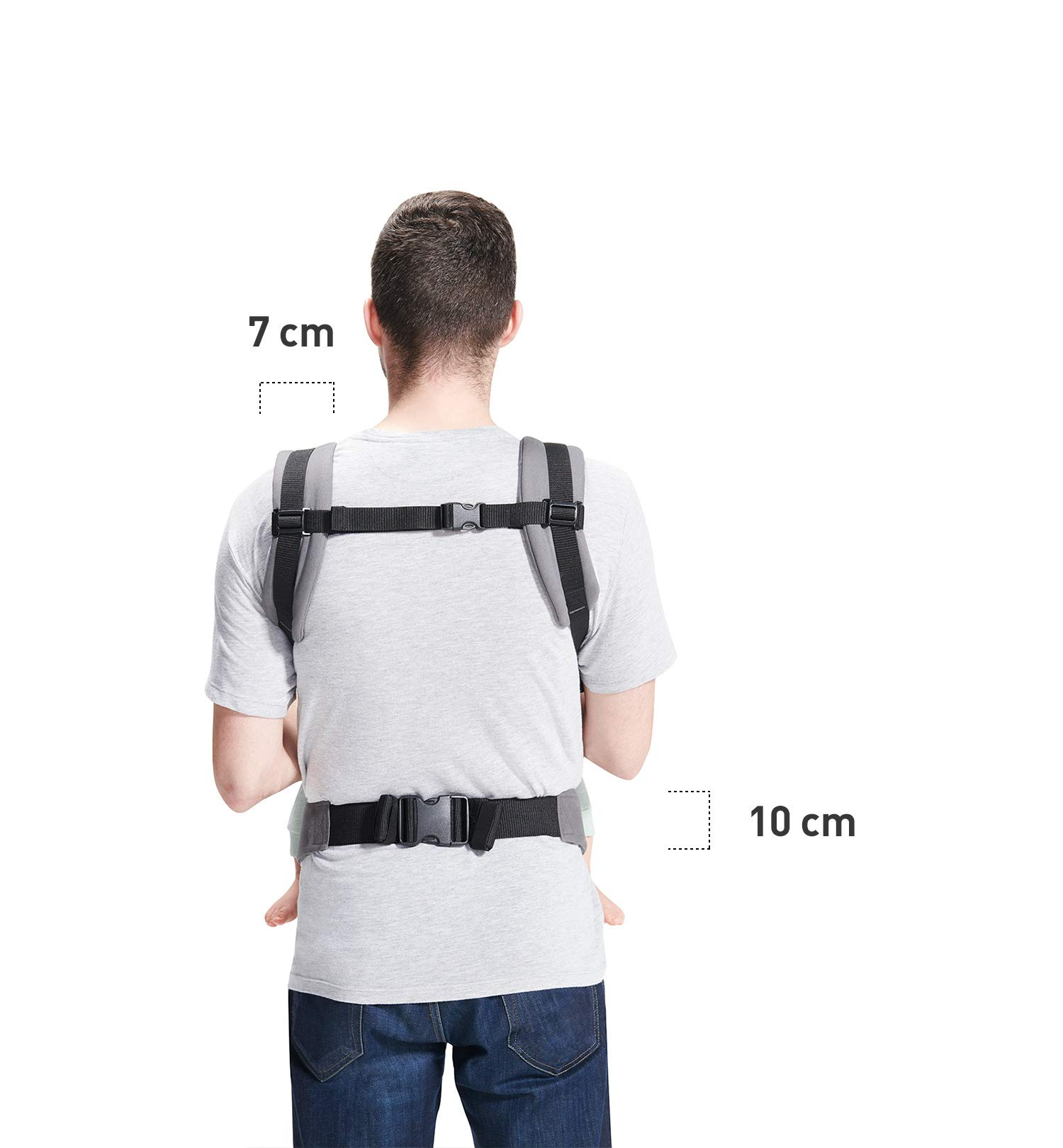 kk Kinderkraft Nino Ergonomic Baby Carrier Front Gray kk KinderKraft Thanks to a special, well-profiled layer, the baby's head does not tilt Ergonomic baby carrier for children aged from 3 months up to 20 kg The compact baby carrier can be folded to a small size and weighs only 0.39 kg 5