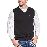 JustSun Men Sweater Vest Cotton Knitted Outerwear Gilet Men's Sleeveless Jumper
