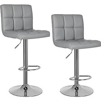 songmics 2 x sgabelli da bar e da cucina in similpelle bianco regolabile girevole con schienale. Black Bedroom Furniture Sets. Home Design Ideas
