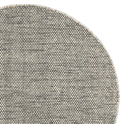 "URBANARA runder Teppich ""Kolong"" - 100% Woll-Baumwoll-Mischung, Eierschale/Schwarz, handgewebt - 150 x 150 cm"
