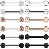 LAURITAMI 16Pcs 16G Piercing Linguetta in Acciaio Chirurgico Anelli Barbell Diritto Barrette per Capezzoli Gioielli per Pierc