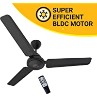 Atomberg Efficio 1200 mm BLDC Motor with Remote 3 Blade Ceiling Fan  (Matt Black, Pack of 1)