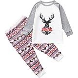 Conjunto de Tops + Pantalones para niños, Navidad para niños, Letras Impresas para niños, Top + Pantalones, Pijamas de Ropa F