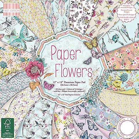 First Edition - Blocco di carta Paper Flowers, 12 x 12
